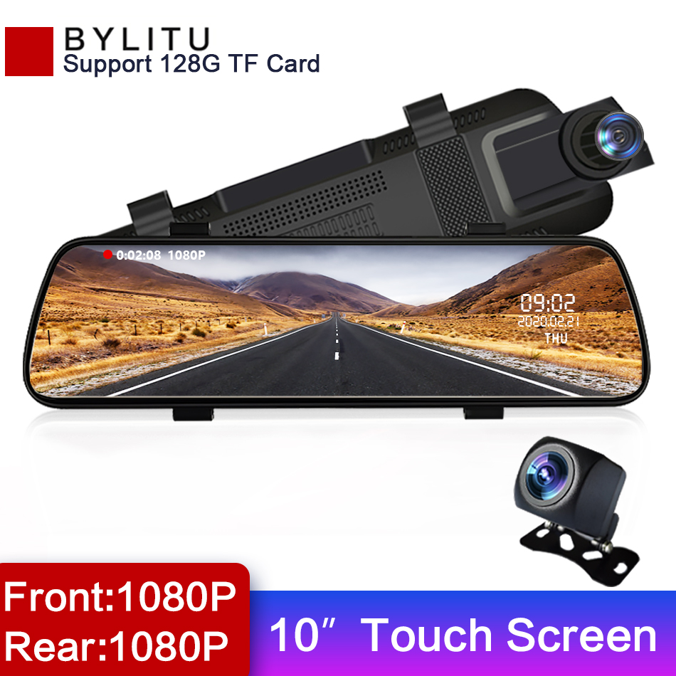 10 inches Touch Screen 1080P Car DVR stream media Dash camera Dual Lens Video Recorder Rearview mirror 1080p Rear camera BYLITU image