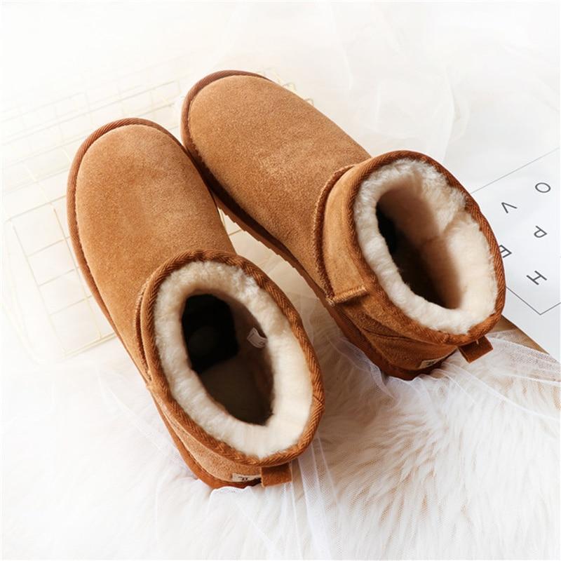 snow boots women waterproof Australia winter worm shoes Non-slip rubber sole 100% genuine cowhide leather big size wholesale