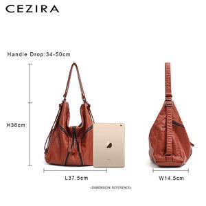 Image 5 - CEZIRA Large Washed PU Women Backpack Functional School Bag Luxury Vegan Leather Shoulder Laptop Bags Female Casual Zip knapsack