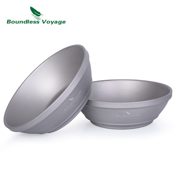 Boundless Voyage 300ml Camping Bowl Outdoor Titanium Double-Wall Bowl Ultralight Portable   Cookware Tableware with Net Bag keith 550ml titanium bowl ultralight camping travel tableware single wall and double wall pure titanium bowls for choose