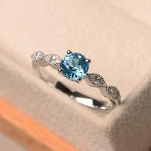 Женские 925 Серебряное кольцо с голубым Цирконом подарок на