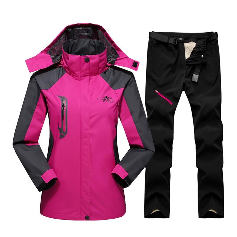 Ski Suit For Women Outdoor Waterproof Windproof Snowboard Ski Jacket Pants Winter Snow Skiing Fleece Jackets Women's Ski Suit