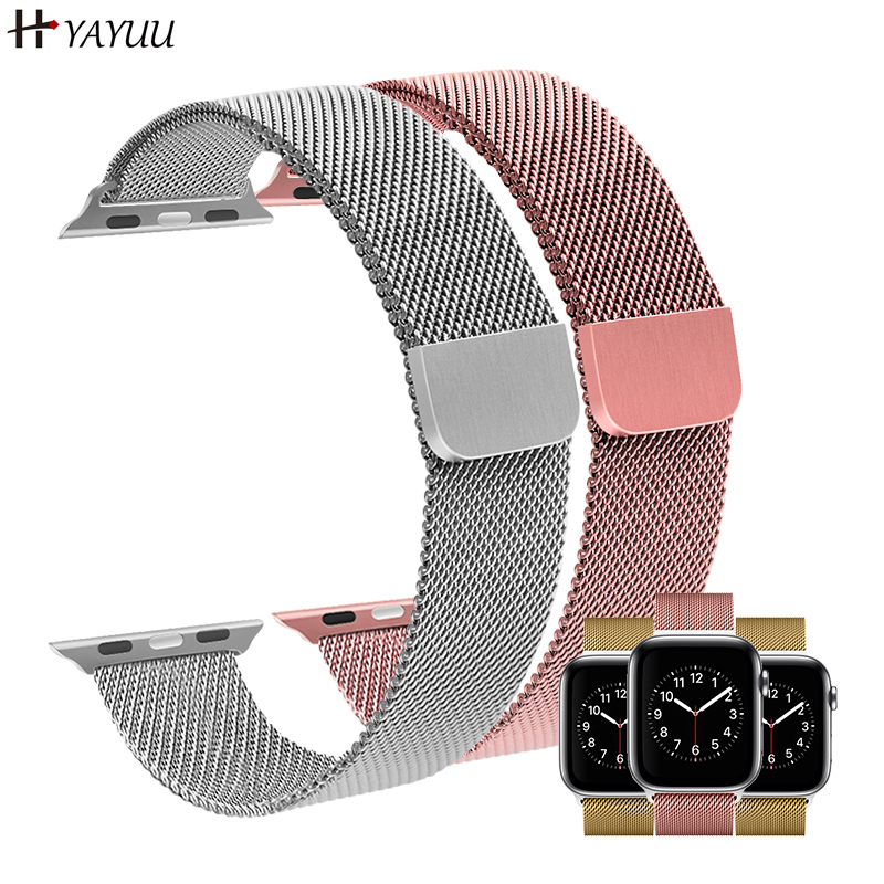 YAYUU Milanese Loop Strap For <font><b>Apple</b></font> <font><b>Watch</b></font> band 44 mm <font><b>42mm</b></font> correa watchband link bracelet <font><b>pulseira</b></font> for iwatch 38mm/40mm 5 4 3 <font><b>2</b></font> image