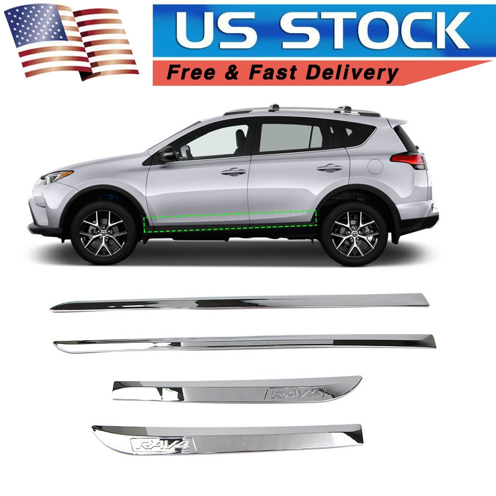 FOR Toyota Highlander 2014-2018 ABS Chrome Side Door Body Molding Cover Trims 4X