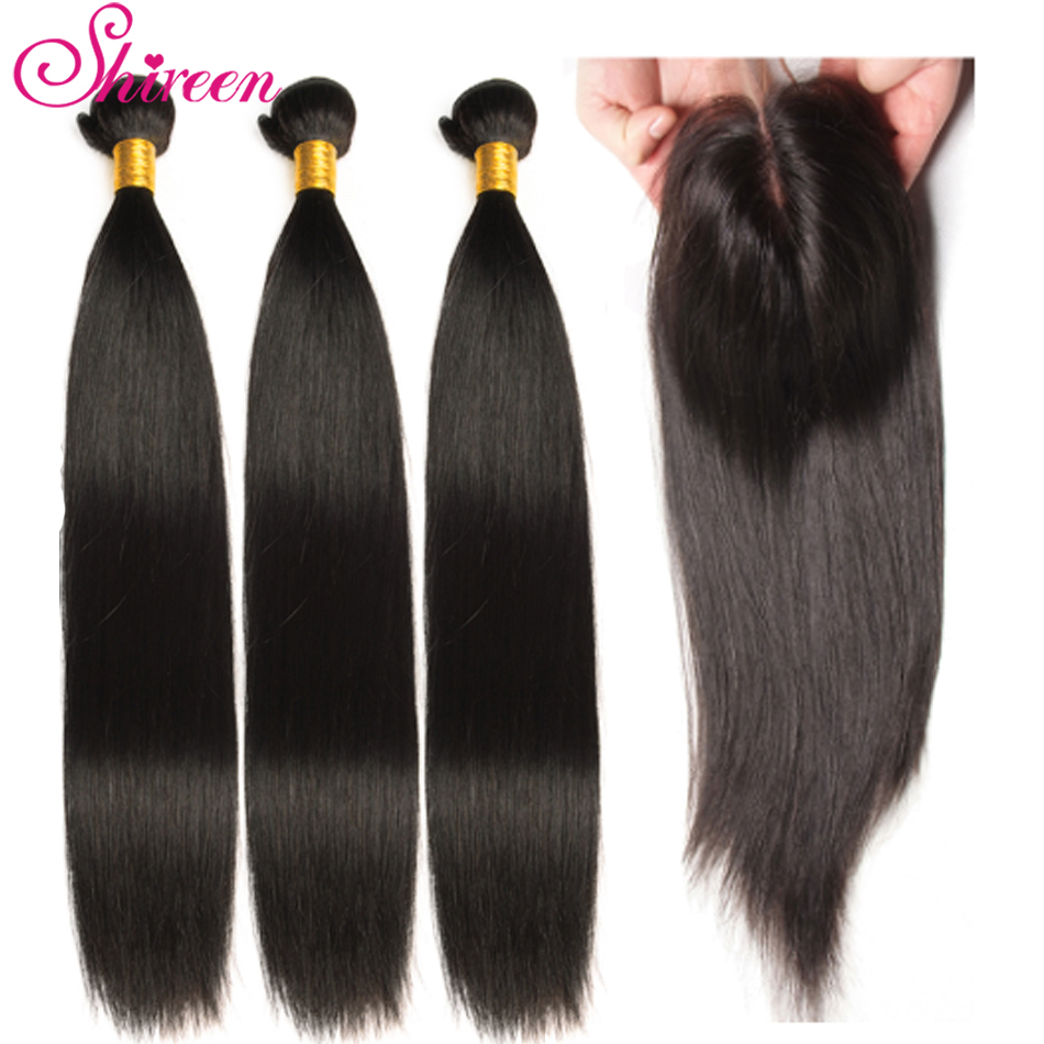 Shireen Malaysian Hair Bundles With Closure Straight Hair Bundles With Closure Natural Human Hair Bundles With Closure Remy Hair