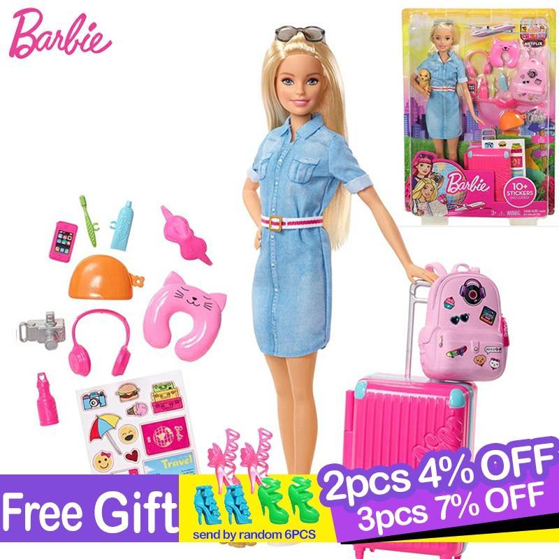 Barbie Toys Clothes-Accessories Boneca Travel Girls Original Doll with Brinquedos