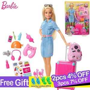Original Travel Barbie Doll with Clothes Accessories Brinquedos Barbie Doll Toys for Children Juguete Baby Toys for Girls Boneca(China)