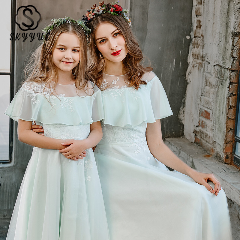 Skyyue Parent Child Evening Dresses FB148 Mint Green A-Line Vestidos De Fiesta O-Neck Cap Sleeve Mother-child Banquet Dresses