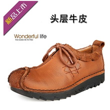 Men Leather Casual Shoes Retro Design Handmade Moccasin Comfortable Round Toe Oxfords 9#20/15D50 djsunnymix retro handmade martin shoes men 2018 new arrival casual genuine leather oxfords shoes soft comfortable
