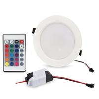 Foco de Control remoto Delgado, lámpara de Panel LED redonda RGB, Bombilla de techo, accesorio empotrado regulable para dormitorio, 3W, 5W, 10W