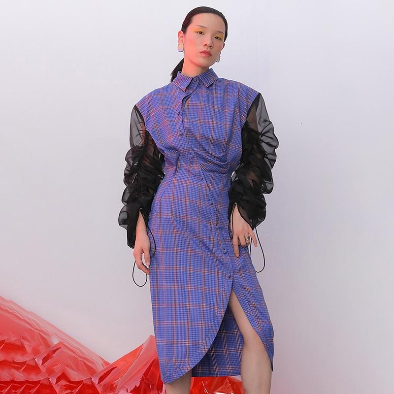 Robe à cordon pour femmes col revers manches bouffantes taille haute robes asymétriques femme automne mode nouveau 45