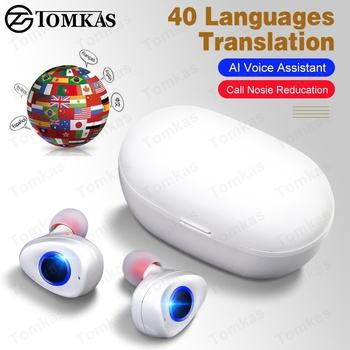 NEW AI Smart Voice Translation Earphones TWS Bluetooth 5.0 Earphones Stereo Call Noise Reducation Earbuds Wireless Earphones фото