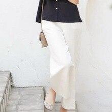 ¡Novedad de Primavera de 2020! Pantalones anchos de mujer de estilo Vintage de verano para mujer, pantalones hasta el tobillo de lino y algodón