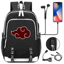 Anime Backpack Bag Laptop-Bags Travel Rucksack Akatsuki Naruto School Boys Sharingan