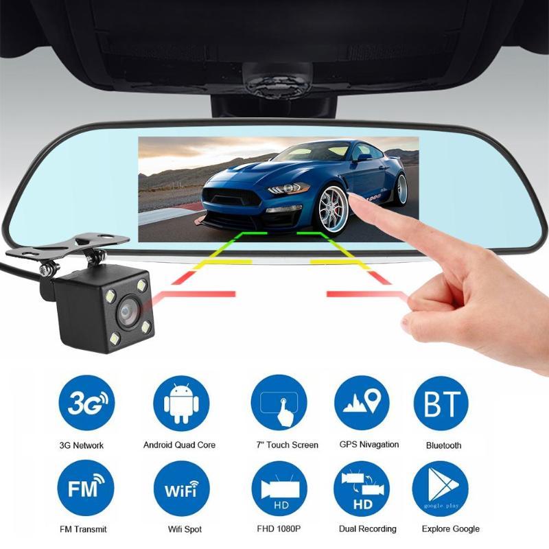 7 pouces 3G Android voiture DVR GPS Navigation double lentille Bluetooth FM tableau de bord caméra GPS Navigation sauvegarde Image WIFI