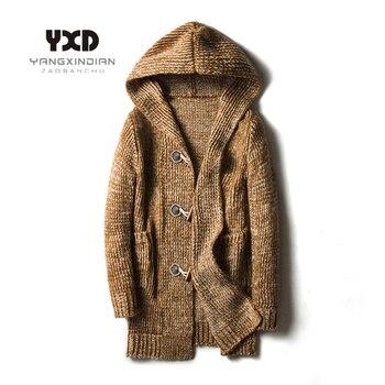 Мужские свободные длинные кардиганы размера плюс 5XL, Осень зима 2020, новые модные Джемперы, мужские вязаные свитера с капюшоном Кардиганы      АлиЭкспресс