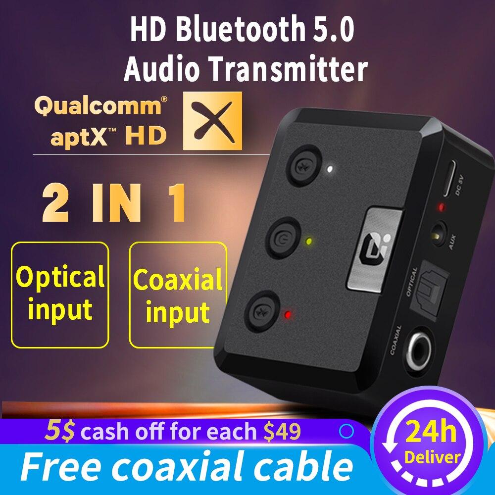 Bluetooth 5.0 Aptx HD faible latence RCA Aux 3.5mm SPDIF Coaxial optique numérique maison Audio émetteur sans fil TV musique adaptateur
