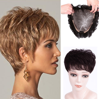 LUPU Women Top Toupee Clip In Synthetic Hair Extensions Replacement Closure Black Brown Topper Hairpiece