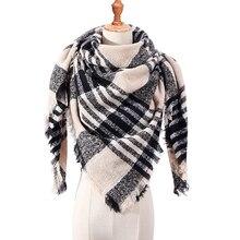 Peacesky Winter Triangle Scarf For Women Plaid Warm Cashmere Scarves Female Shawls Pashmina Lady Bandana Wraps Blanket
