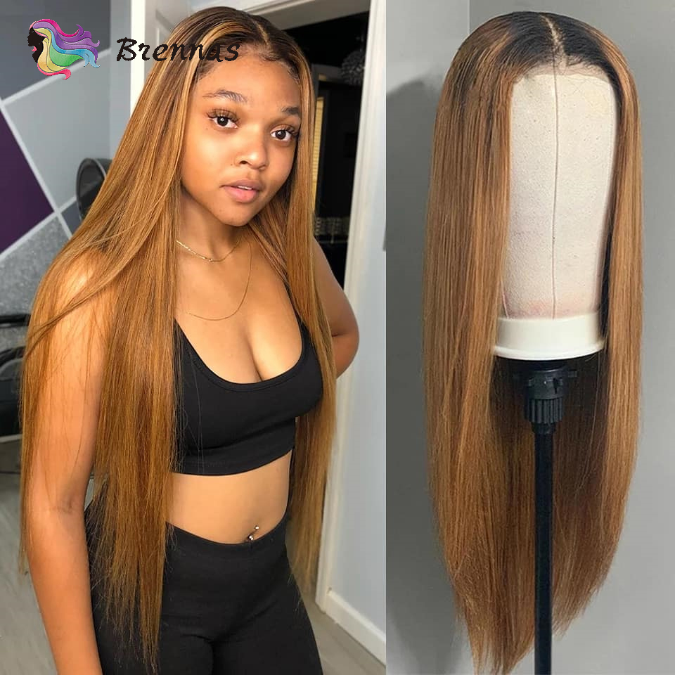 Long Straight Lace Wig Ombre 1b/27 Brown Color Brazilian Human Hair 13*4 Lace Front Wig Bleached Knots With Baby Hair Remy Hair