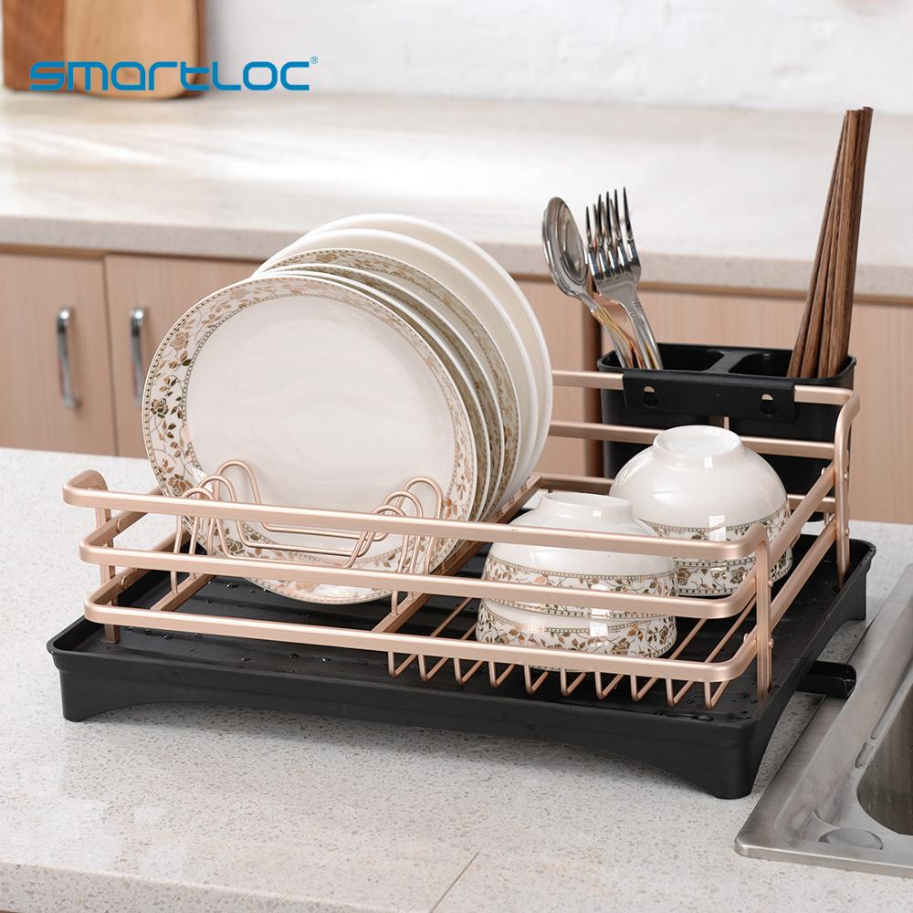 Smartloc 1 Tier Aluminium Alloy Dish Rack Kitchen Organizer Storage Drainer Drying Plate Shelf Sink Supply Knife Fork Container