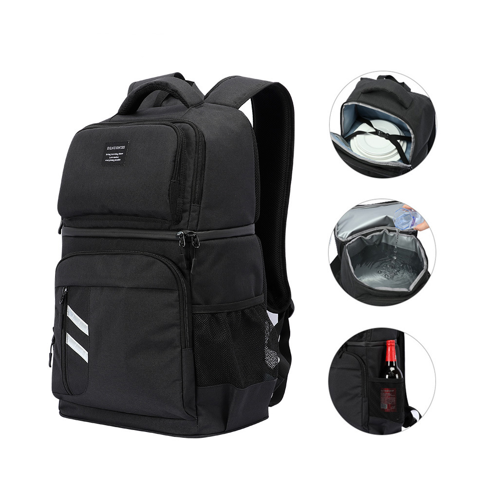 Insulated Cooler Bag Large Capacity Bag Portable Food Backpack Waterproof <font><b>Ice</b></font> <font><b>Pack</b></font> <font><b>Lunch</b></font> Bags For Picnic Hiking Camp image
