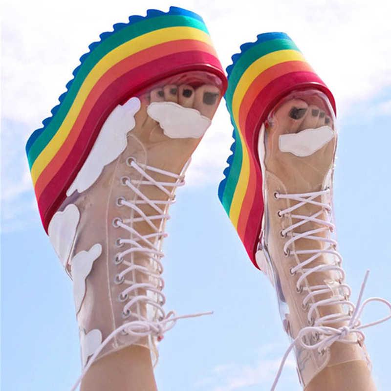 2020 Rainbow Botki Wysoka Podeszwa Obcasy Krotkie Buty Klub Nocny Ciasto Dol Panie Buty Gruba Podeszwa Przezroczyste Botki Pcv Buty Do Kostki Aliexpress