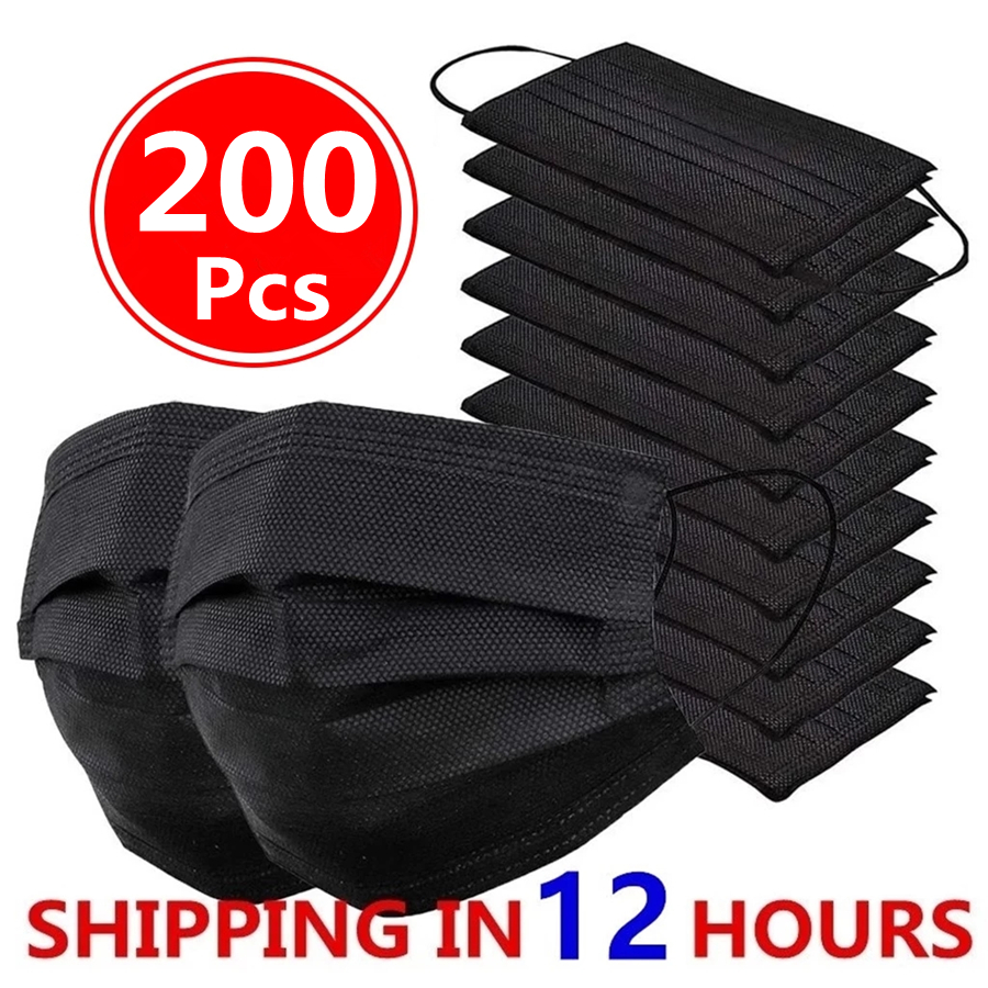 10-200pcs Mask Disposable Face Mask Black Nonwove 3 Layer Mouth Mask filter Anti Dust Flu Safe Breathable Protective Adult masks