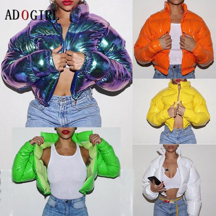 Женский зимний пуховик Adogirl, 2020 неоновый цвет, укороченная куртка-пуховик, парка, верхняя одежда, плотное пузырьковое пальто, модная уличная ...