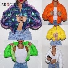 Adogirl chaqueta de invierno de las mujeres 2020 de Color neón chaqueta globo chaqueta Parka prendas de vestir gruesa abrigo de burbuja moda Streetwear 2020