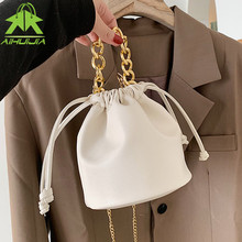 Ladies luxury handbag 2021 summer New high quality PU Leather Drawstring design Shoulder bucket bag Fashion chain Messenger Bags