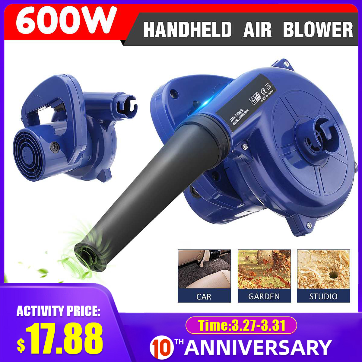 600W 220V Electric Handheld Blower Vacuum Computer Cleaner Electric Industrial Air Blower Dust Blowing Dust Collector For Office