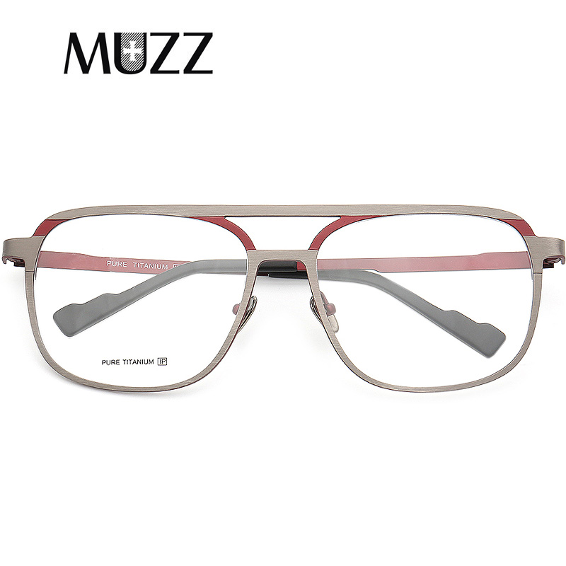 MUZZ Pure B Titanium Men Frame Retro Prescription Glasses Frame Myopia Optical Eyeglasses For Women Square Optical Lens Eyewear