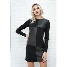 Cool Streetwear Black Mini Women Dress Ladies Long Sleeve Patchwork o Neck Party