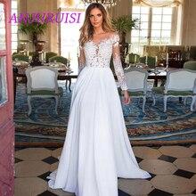 ANJURUISI 格安レース長袖ウェディングドレス 2019 ビーチの花嫁衣装シフォンレースアップリケホワイト/lvory ロマンチックなボタン七面鳥