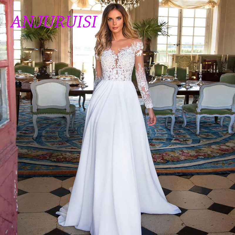 ANJURUISI Cheap Lace Long Sleeve Wedding Dress 2019 Beach Bridal Gown Chiffon Lace Appliques White/lvory Romantic Buttons Turkey