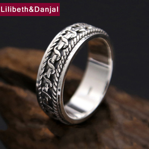 Image 1 - Vintage Black Ring 100% Real 925 Sterling Silver For Men and Women Spinning Thailand silver Joint Ring Jewelry FR5