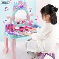 akitoo Girl Dresser Set Princess Dressing Table Girl Cosmetics Kids Makeup Case Child Toy Hair Dryer #3205