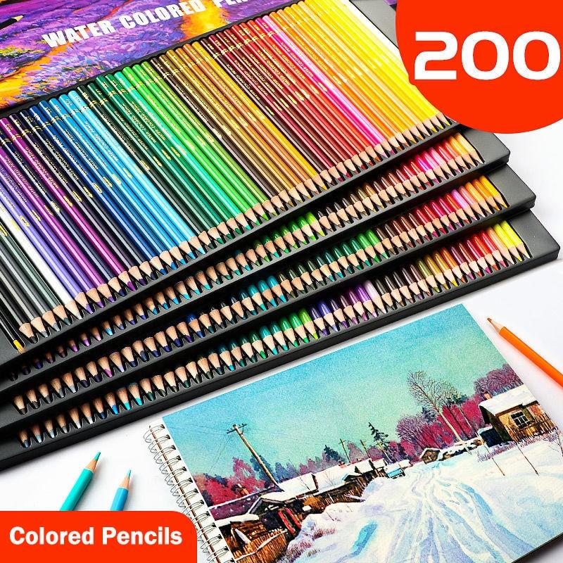 Profession 48/72/120/150/200Color Professional Oil Color Pencils Wood Soft Watercolor Pencil For School Draw Sketch Art Supplies