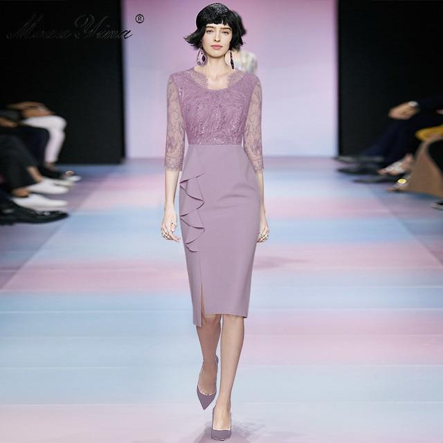 MoaaYina Fashion Designer dress Spring Women's Dress V-neck Lace Patchwork Package hip Ruffles Split Dresses 3