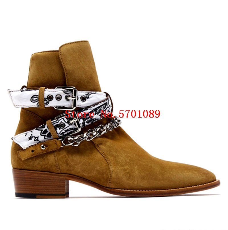 Genuine Suede Leather Western Chain Boots Buckle Wyatt 30 Bandana Chelsea Boots Rock Roll Jodphur Western Cowboy Boots Shoes