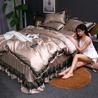 3pcs Lace Bedding Set Luxury Wash Silk Duvet Cover For Bedroom Soft Quilt Cover And Pillowcase Nordic Bed Linens Sets For Home 1