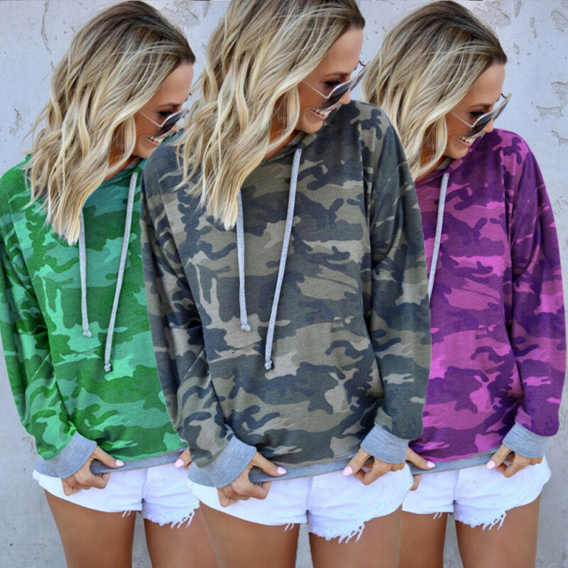 Autumn Camo Sweatshirts Women Long Sleeve Hoodie Sweatshirt  Hooded Jumper Coat Pullover Tops NEW