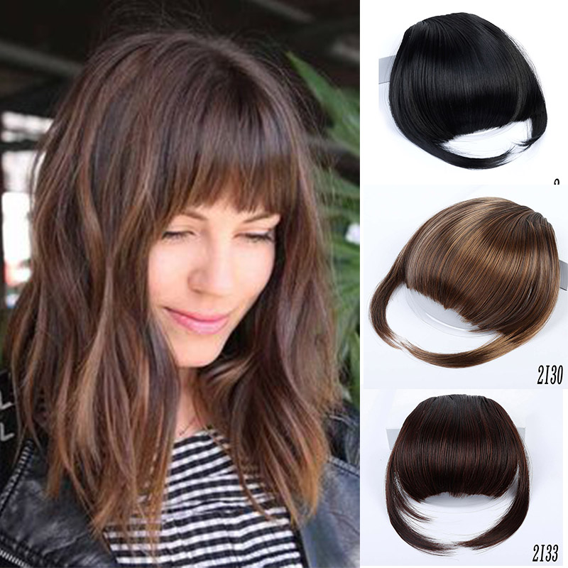 XUANGUANG  Neat Front Clip In Hair Bangs Extension  Clip On Synt Hetic Hair Fashion Bangs