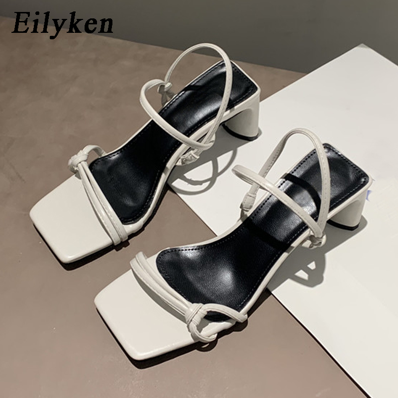 Eilyken High Quality Cozy Soft Slip-On Ankle Strap Casual Ladies Shoes Low Square Heel Summer Open Toe Gladiator Sandals Women