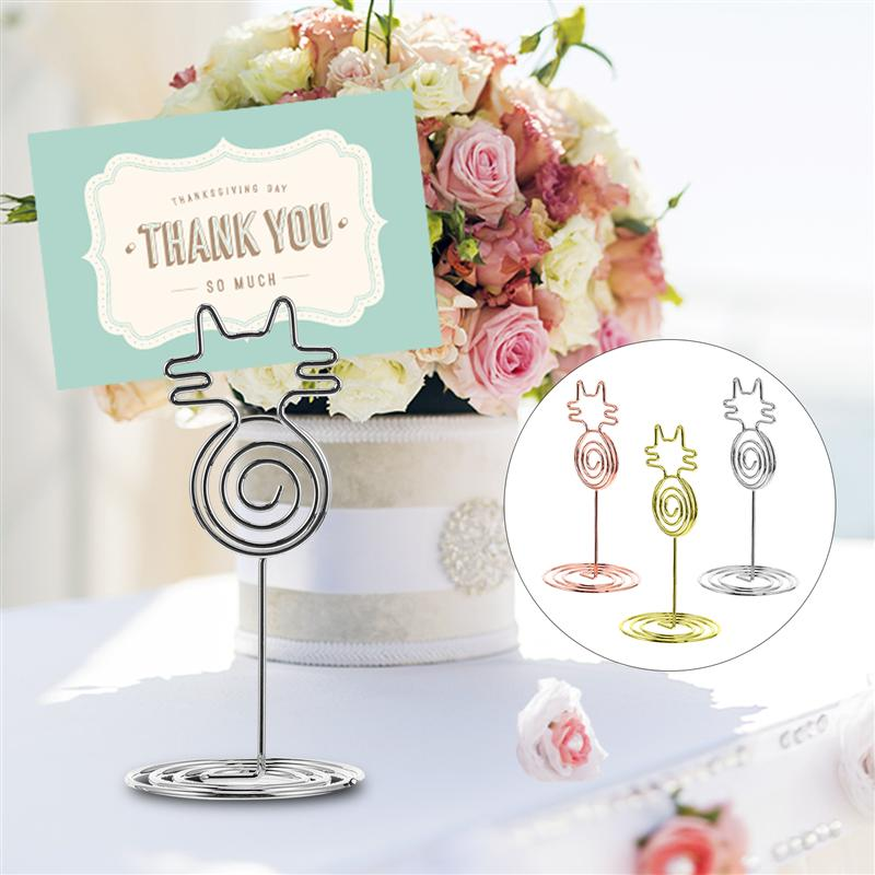 12pcs Cat Shape Metal Photo Clips Wedding Place Card Holder Number Stand Name Message Clips Desktop Decoration Party Supplies
