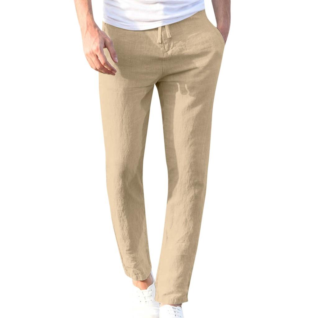 Hbce1124ce3224cc6a4810041fe612d017 Feitong Fashion Cotton Linen Pants Men Casual Work Solid White Elastic Waist Streetwear Long Pants Trousers