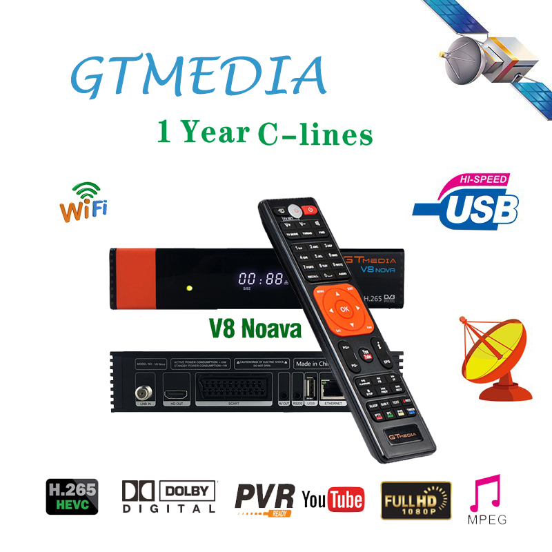 Gtmedia V8 NOVA satellite receiver built in WIFI H 265 USB 2 0 DVB S2 with 1 Year Europe Cline cccam server hd in Satellite TV Receiver from Consumer Electronics