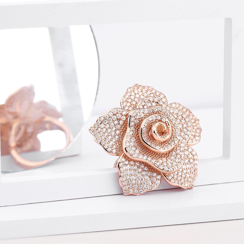 Image 3 - ERLUER déclaration marque bijoux anneaux pour femmes mode or rose cristal zircon fleur de luxe fête de mariage bague filleAnneaux   -