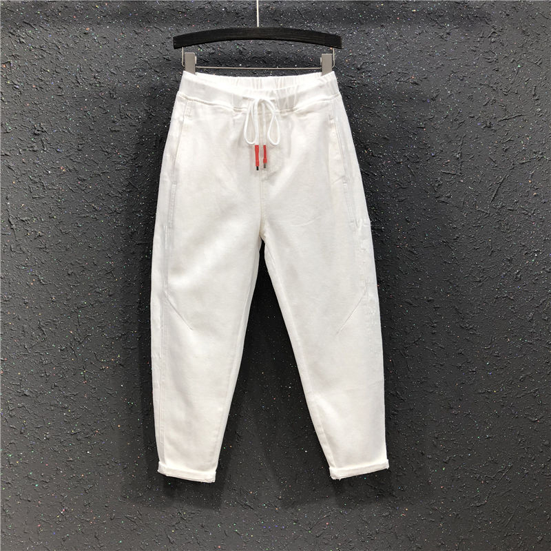 2020 Spring New Korea Fashion Women Elastic Waist Loose White Pants All-matched Casual Cotton Harem Pants Plus Size S283